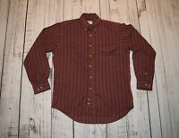 VINTAGE 90s SEARS ROEBUCK BUTTON SHIRT RED STRIPED SINGLE NEEDLE TAILORING LARGE