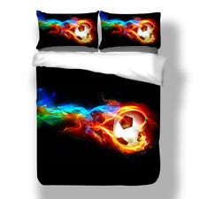 3D Soccer Fire Quilt Cover Set Football Duvet Cover World Cup Sports Bedding Set