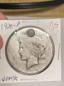1928 p peace dollar AG details