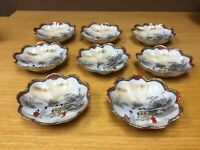 "8 Antique Japan Geisha 5 3/4"" Scalloped Bowls - Porcelain 1800s"