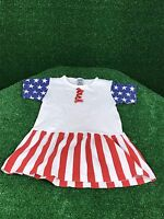 USA Patriotic Dress 4th of July Girls 2T Flag Red White Blue Outfit America