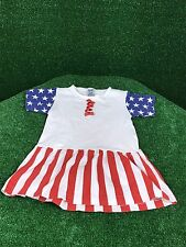 USA Patriotic Dress 4th of July Girls 2T Memorial Flag Red Blue Outfit