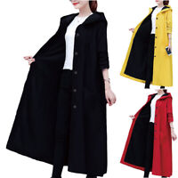 Women Baggy Hooded Long Sleeve Plain Button Coat Outwear Winter Warm Long Jacket