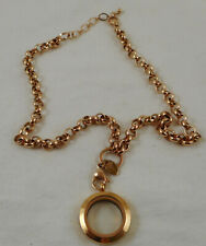 Origami Owl Rose Gold Medium Living Locket with Chain Necklace