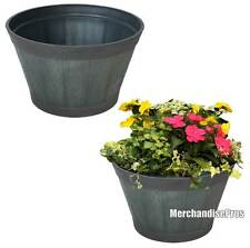 """TWO (2) LARGE & LIGHTWEIGHT 20"""" WEATHERED WHISKEY BARREL RESIN PLANTERS NEW!"""