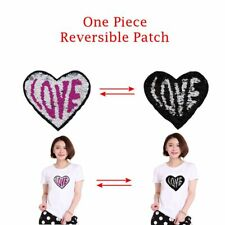 Love Heart Reversible Color Sequins Patches Clothes Decor Embroidered Badge DIY