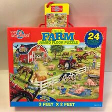 T.S. Shure On The Farm Jumbo Floor Puzzle 24 PC 3' x 2' New Animals Pigs COW
