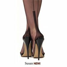 *PERFECT NEW GIO SUSAN Heel Fully Fashioned Seamed Nylon Stockings Black 9 Small