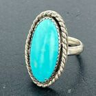 Vintage Native American Sterling Silver Oval Rope Design Turquoise Ring Size 6