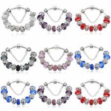 Women Handmade Crystal Beaded Bracelet Girls Cuff Wristband Bangle Chain Jewelry