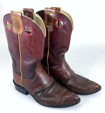 Olathe Cowboy Boots 7C Womens Burgundy Leather Wide Made in USA