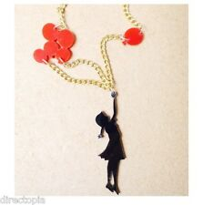 Girl & Red Balloon Acrylic Statement Gold Chain Necklace Graffiti Style UK