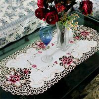 Weiß Vintage Stickerei Spitze Tischdecke Mitteldecke Tischläufer Deckchen Blumen