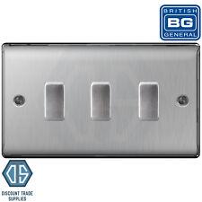 BG Brushed Steel 3 Gang Intermediate Switch in Double Format Custom Grid