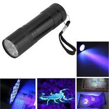 Mini Aluminum 9 LED UV Torch Ultra Violet Flashlight Blacklight Urine Money Lice