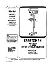 SEARS CRAFTSMAN 17 INCH DRILL PRESS OWNERS MANUAL 113.213170 213170