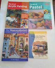 INSTRUCTIONAL ART PAINTING TECHNIQUE BOOK LOT (4) WATERCOLOR / ACRYLIC / PASTEL