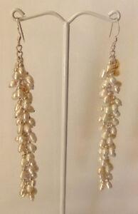 Sterling Silver Seed Pearl Long Cluster Dangle Earrings
