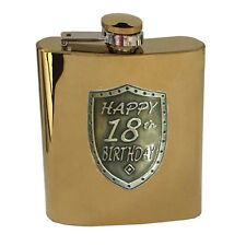 20285 18th BIRTHDAY GOLD 150ml HIP FLASK WITH SHIELD BADGE GIFT BOX EIGHTEENTH