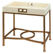 NEW STUNNING TRANSITIONAL GOLD WHITE IRON SALON TRAY END SIDE ACCENT table