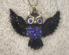 Necklace Owl enamel facet glass rhinestone pendant flying blue