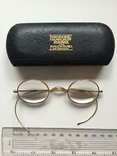 Vintage round gold frame spectacles glasses & case, strong prescription lenses