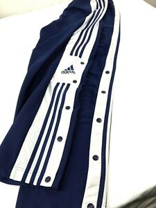 Adidas Mens sz S White Striped Navy Blue Snap Sides Running Pants