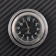 "7/8"" 1"" Motor Chrome waterproof Black Dial Handlebar Clock Glow Watch Universal"