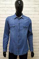 Camicia ALTA TENSIONE Uomo Taglia Size M Maglia Shirt Man Manica Lunga in Jeans