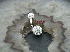 Bauchnabel Piercing STRASSKUGEL 2 Kristallkugeln KLAR Multikristallkugeln