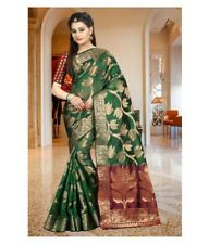 Green Banarasi Silk Saree Party Indian Ethnic Wedding Designer Sari