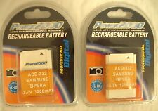 TWO 2X IA-BP90A BP90A Batteries 3.7V 1200mAh for Samsung HMX-E10 HMX-E10OP