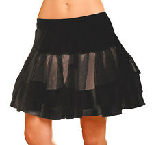 Satin Trim Petticoat Black Womens Elegant Fashion Clothing SHIP USA ONE SIZE