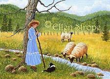 Aceo Card, Giclee print, art, Ellen Strope, Shepherd Girl, Border Collie, Sheep