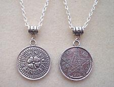 Reversible Tetragrammaton PENTAGRAMA Zodiaco Buena Suerte Amuleto Mágico Collar de encanto