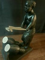 African Heavy Ebony Wood Carved Hand Statue Antique Black Head Beautiful 1243
