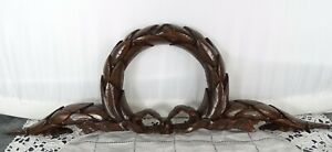 """17.5"""" Antique French Carved Wood Pediment Crest Crown Solid Oak  - Empire Style"""