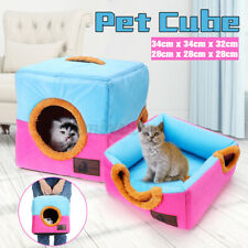 Dog Pet Cat Bed Portable Kennel Doggy House Cube Cave Cushion Pad Basket