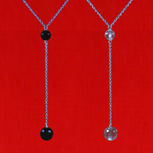 GENUINE GEMSTONE FACETED BEAD / BALL 925 STERLING SILVER Y / LARIAT NECKLACE