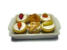 6 Mixed Cupcake on Tray Dollhouse Miniatures Mini Food Bakery