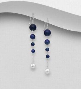 925 Sterling Silver Genuine Lapis Lazuli 4 Stone Drop Dangle Earrings Women