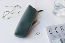Cute Korean Leather Pencil Case / Pouch *Brand New* U.S. Ship- Dark Green Color