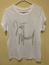 """Here Comes The Bride Victoria Secret """"Just Married"""" White S/S T-shirt Size Large"""