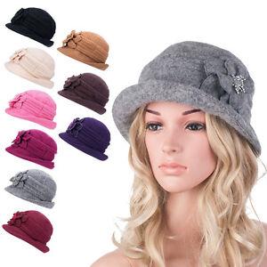Womens GATSBY 1920s 100% Wool Flower Cap Beret Beanie Cloche Bucket Hat A299