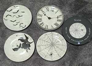 Sur la Table Halloween Plates witch spider bats clock new in box Set 4 salad