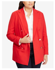 NEW Ralph Lauren Women's Plus Red Wool Blazer Jacket Size 16W