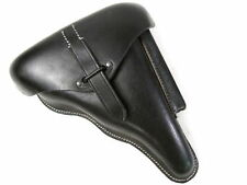 WWII German Black Leather Hardshell Holster for P38 Pistol Dated 1942 - Repro