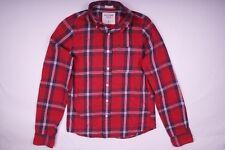 Abercrombie & Fitch Muscle Langarm Hemd Button-Down-Kragen Rot Herren Gr. S