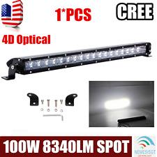 Slim 21Inch 100W Led Light Bar Single Row For Driving Lights Spot 4D LENS 12V24V