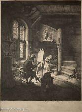 """Adriaen van Ostade Etching """"The Painter in His Studio"""" (1610-1685) Fine / NICE!"""
